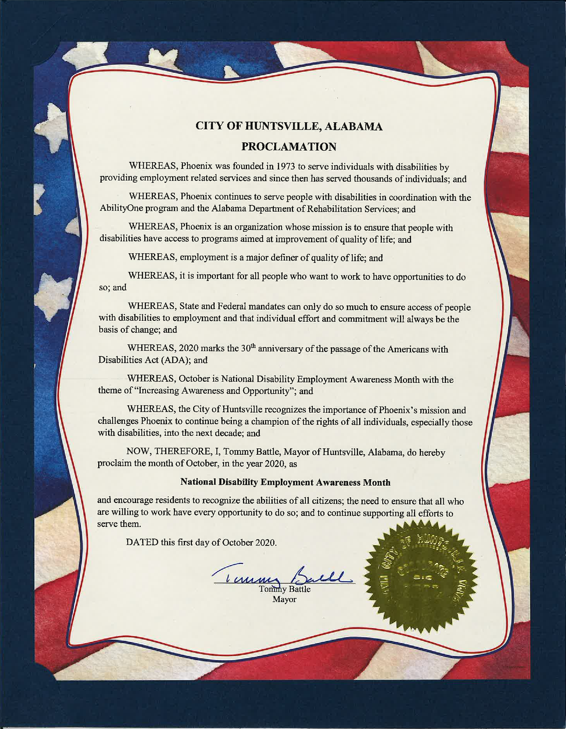 Picture of National Disability Employment Awareness Month Proclamation signed by Huntsville Mayor Tommy Battle